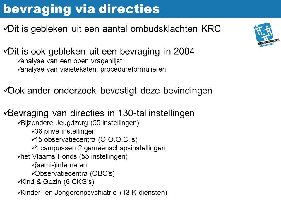 bevraging via directies Dit is gebleken uit een aantal ombudsklachten KRC Dit is ook gebleken uit een bevraging in 2004 analyse van een open vragenlij