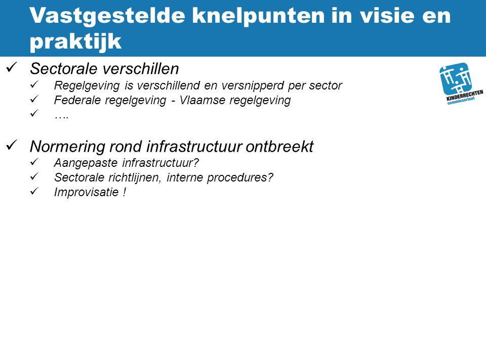Vastgestelde knelpunten in visie en praktijk Sectorale verschillen Regelgeving is verschillend en versnipperd per sector Federale regelgeving - Vlaams