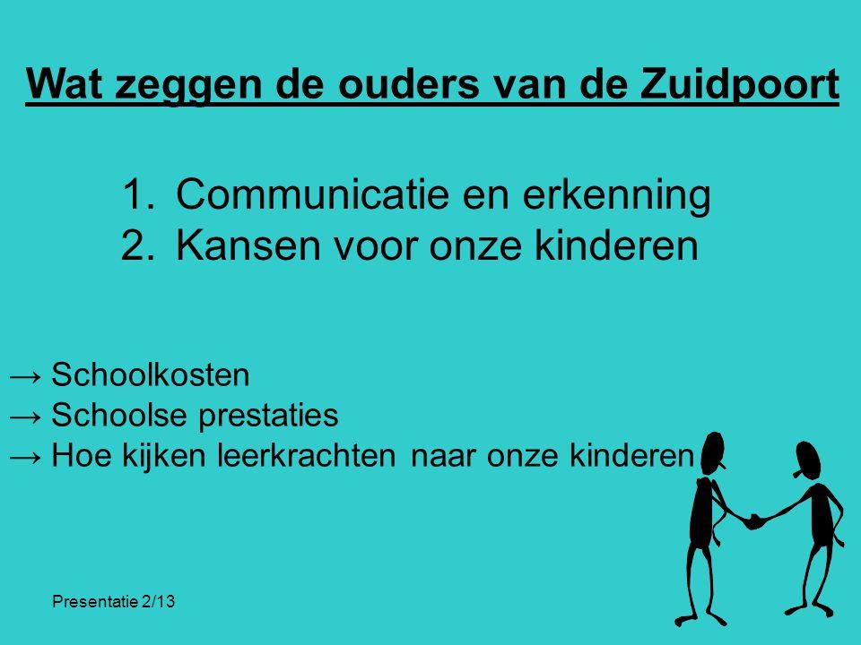 Presentatie 2/13 Wat zeggen de ouders van de Zuidpoort 1. Communicatie en erkenning 2. Kansen voor onze kinderen → Schoolkosten → Schoolse prestaties