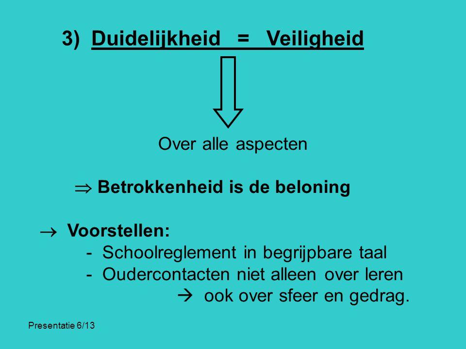 Presentatie 6/13 3) Duidelijkheid = Veiligheid Over alle aspecten  Betrokkenheid is de beloning  Voorstellen: - Schoolreglement in begrijpbare taal