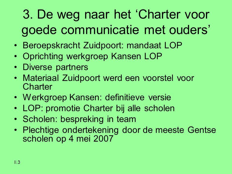 II.3 3. De weg naar het 'Charter voor goede communicatie met ouders' Beroepskracht Zuidpoort: mandaat LOP Oprichting werkgroep Kansen LOP Diverse part