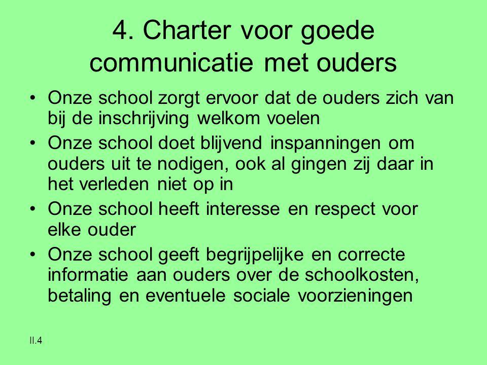 II.4 4. Charter voor goede communicatie met ouders Onze school zorgt ervoor dat de ouders zich van bij de inschrijving welkom voelen Onze school doet