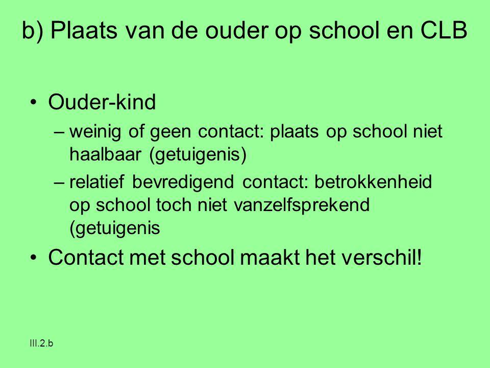 III.2.b b) Plaats van de ouder op school en CLB Ouder-kind –weinig of geen contact: plaats op school niet haalbaar (getuigenis) –relatief bevredigend