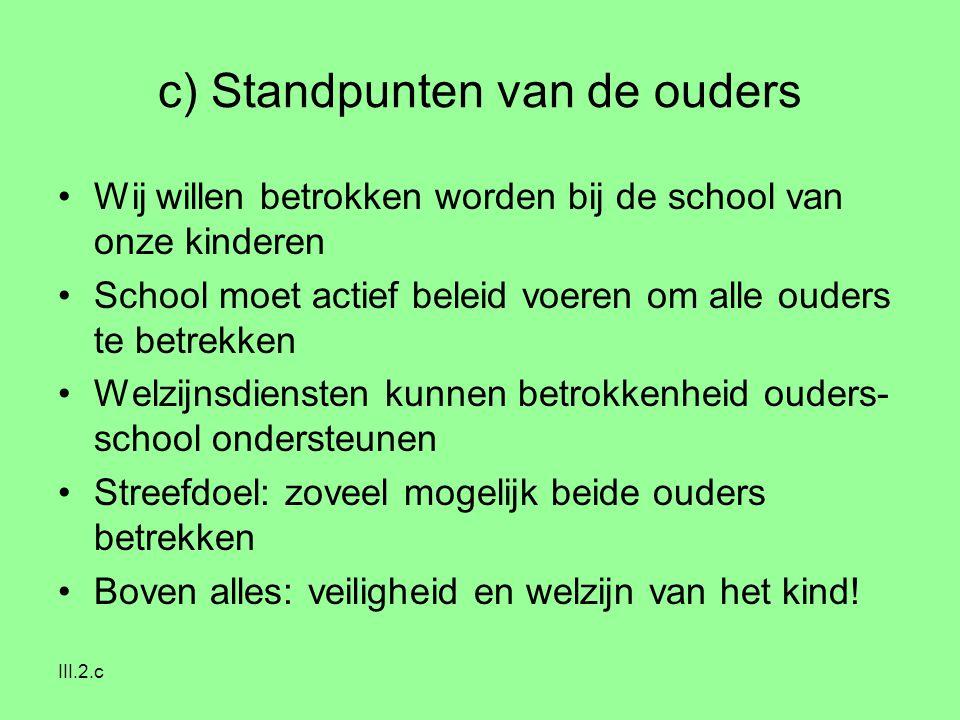 III.2.c c) Standpunten van de ouders Wij willen betrokken worden bij de school van onze kinderen School moet actief beleid voeren om alle ouders te be