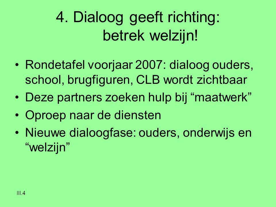 III.4 4. Dialoog geeft richting: betrek welzijn! Rondetafel voorjaar 2007: dialoog ouders, school, brugfiguren, CLB wordt zichtbaar Deze partners zoek