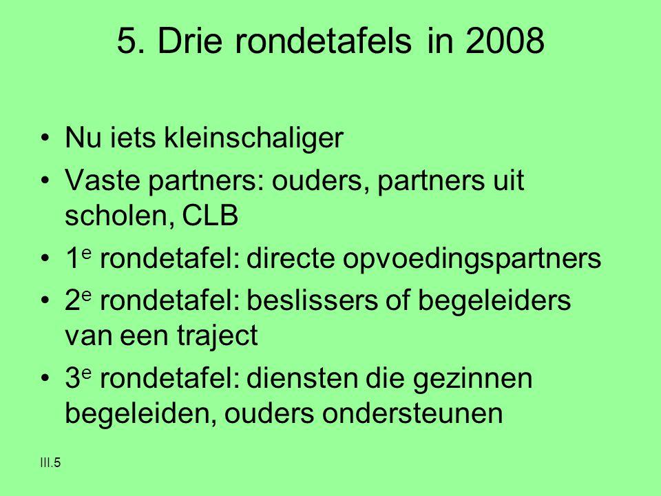 III.5 5. Drie rondetafels in 2008 Nu iets kleinschaliger Vaste partners: ouders, partners uit scholen, CLB 1 e rondetafel: directe opvoedingspartners
