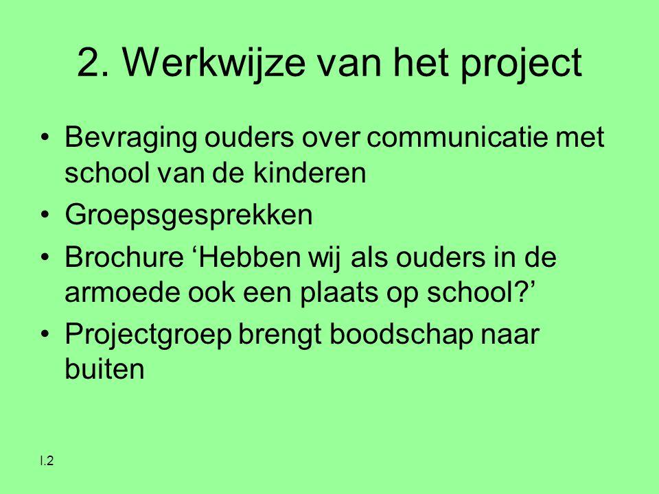 I.2 2. Werkwijze van het project Bevraging ouders over communicatie met school van de kinderen Groepsgesprekken Brochure 'Hebben wij als ouders in de