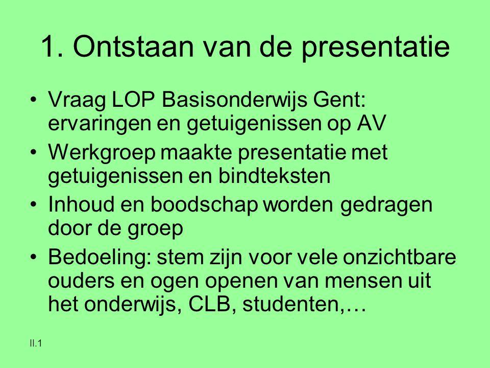 II.1 1. Ontstaan van de presentatie Vraag LOP Basisonderwijs Gent: ervaringen en getuigenissen op AV Werkgroep maakte presentatie met getuigenissen en