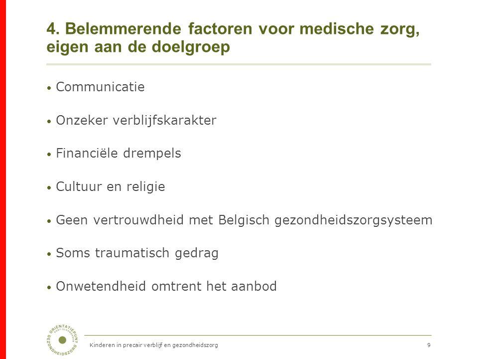 9 4. Belemmerende factoren voor medische zorg, eigen aan de doelgroep Communicatie Onzeker verblijfskarakter Financiële drempels Cultuur en religie Ge