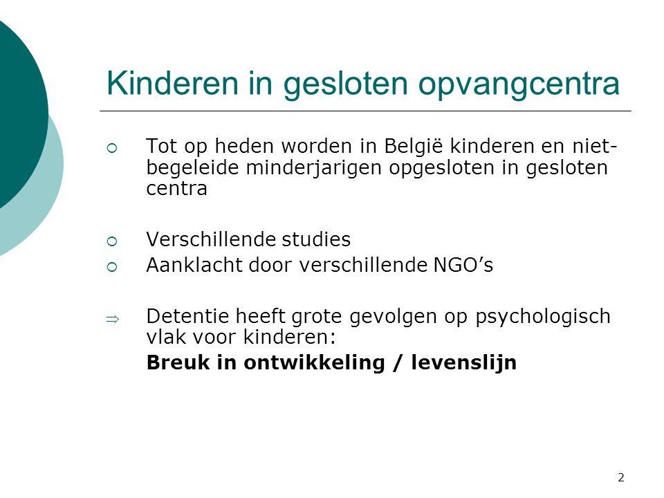 2 Kinderen in gesloten opvangcentra  Tot op heden worden in België kinderen en niet- begeleide minderjarigen opgesloten in gesloten centra  Verschil