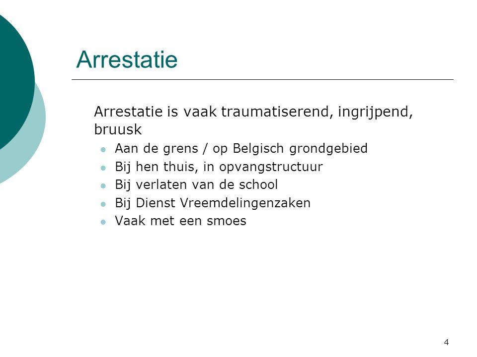 4 Arrestatie Arrestatie is vaak traumatiserend, ingrijpend, bruusk Aan de grens / op Belgisch grondgebied Bij hen thuis, in opvangstructuur Bij verlat