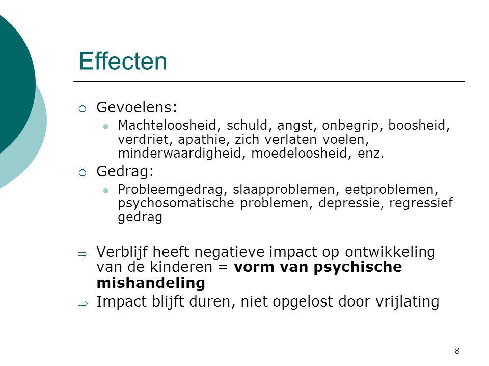 8 Effecten  Gevoelens: Machteloosheid, schuld, angst, onbegrip, boosheid, verdriet, apathie, zich verlaten voelen, minderwaardigheid, moedeloosheid,