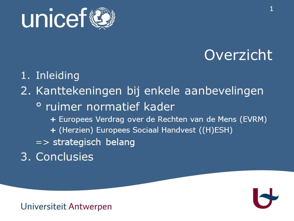 1 Overzicht 1.Inleiding 2.Kanttekeningen bij enkele aanbevelingen ° ruimer normatief kader + Europees Verdrag over de Rechten van de Mens (EVRM) + (Herzien) Europees Sociaal Handvest ((H)ESH) => strategisch belang 3.Conclusies