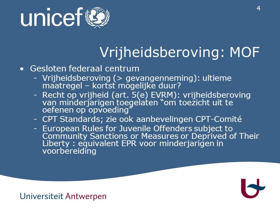 4 Vrijheidsberoving: MOF Gesloten federaal centrum -Vrijheidsberoving (> gevangenneming): ultieme maatregel – kortst mogelijke duur? -Recht op vrijhei