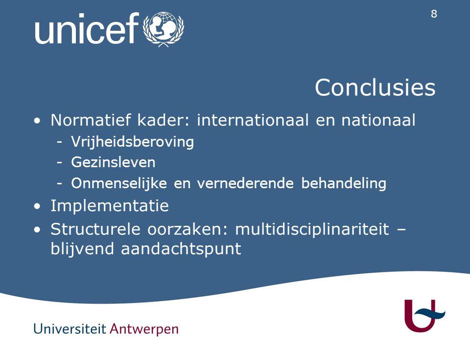 8 Conclusies Normatief kader: internationaal en nationaal -V-Vrijheidsberoving -G-Gezinsleven -O-Onmenselijke en vernederende behandeling Implementatie Structurele oorzaken: multidisciplinariteit – blijvend aandachtspunt