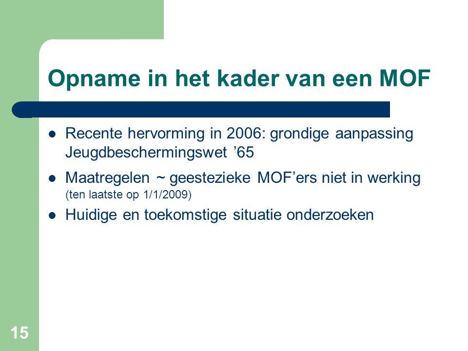 15 Opname in het kader van een MOF Recente hervorming in 2006: grondige aanpassing Jeugdbeschermingswet '65 Maatregelen ~ geestezieke MOF'ers niet in