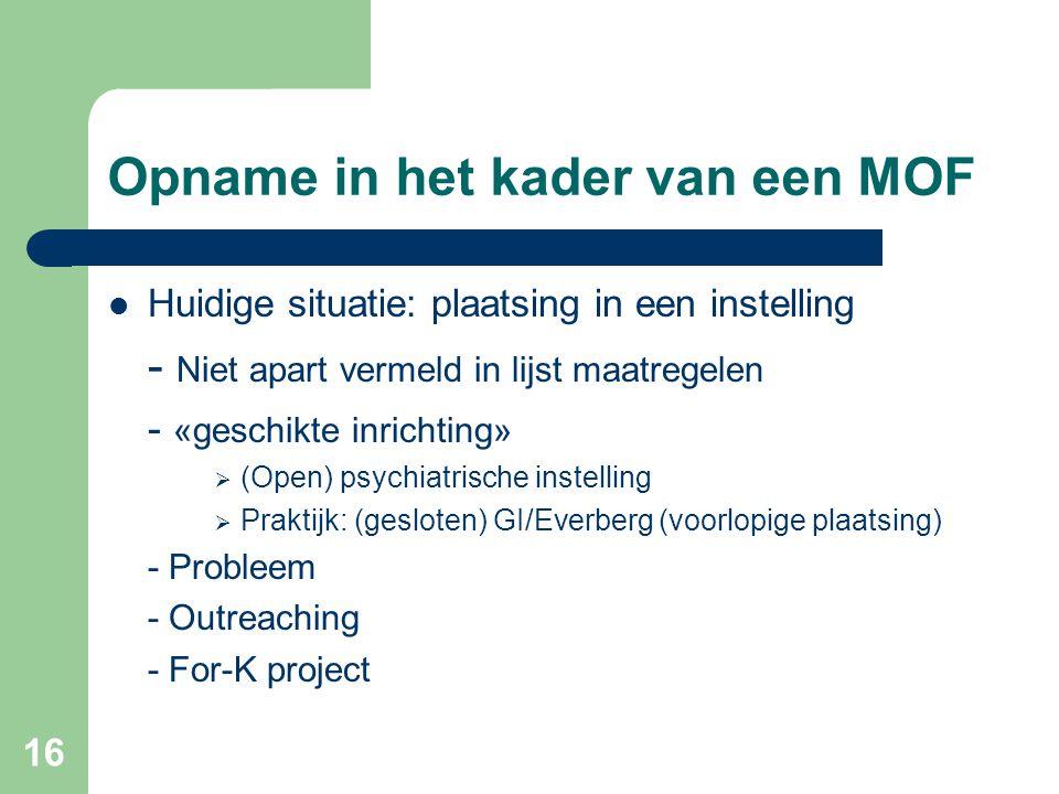 16 Opname in het kader van een MOF Huidige situatie: plaatsing in een instelling - Niet apart vermeld in lijst maatregelen - «geschikte inrichting» 