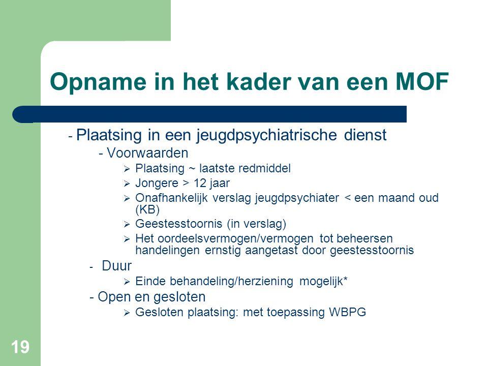 19 Opname in het kader van een MOF - Plaatsing in een jeugdpsychiatrische dienst - Voorwaarden  Plaatsing ~ laatste redmiddel  Jongere > 12 jaar  O