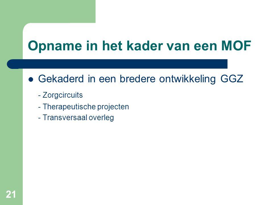 21 Opname in het kader van een MOF Gekaderd in een bredere ontwikkeling GGZ - Zorgcircuits - Therapeutische projecten - Transversaal overleg