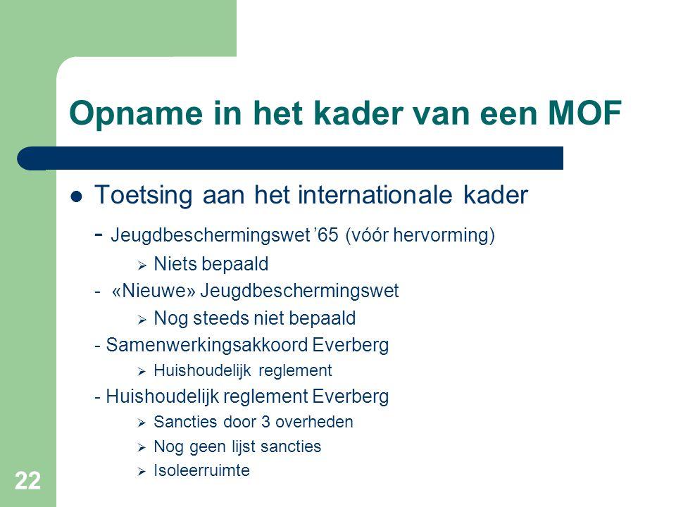 22 Opname in het kader van een MOF Toetsing aan het internationale kader - Jeugdbeschermingswet '65 (vóór hervorming)  Niets bepaald - «Nieuwe» Jeugd