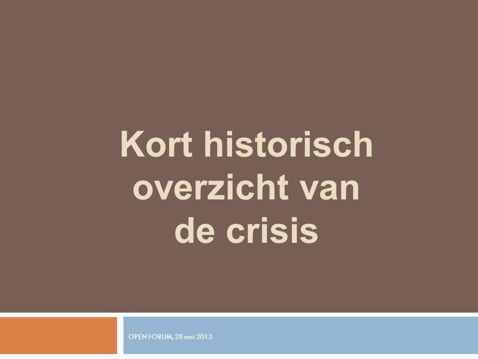 OPEN FORUM, 28 mei 2013 Kort historisch overzicht van de crisis