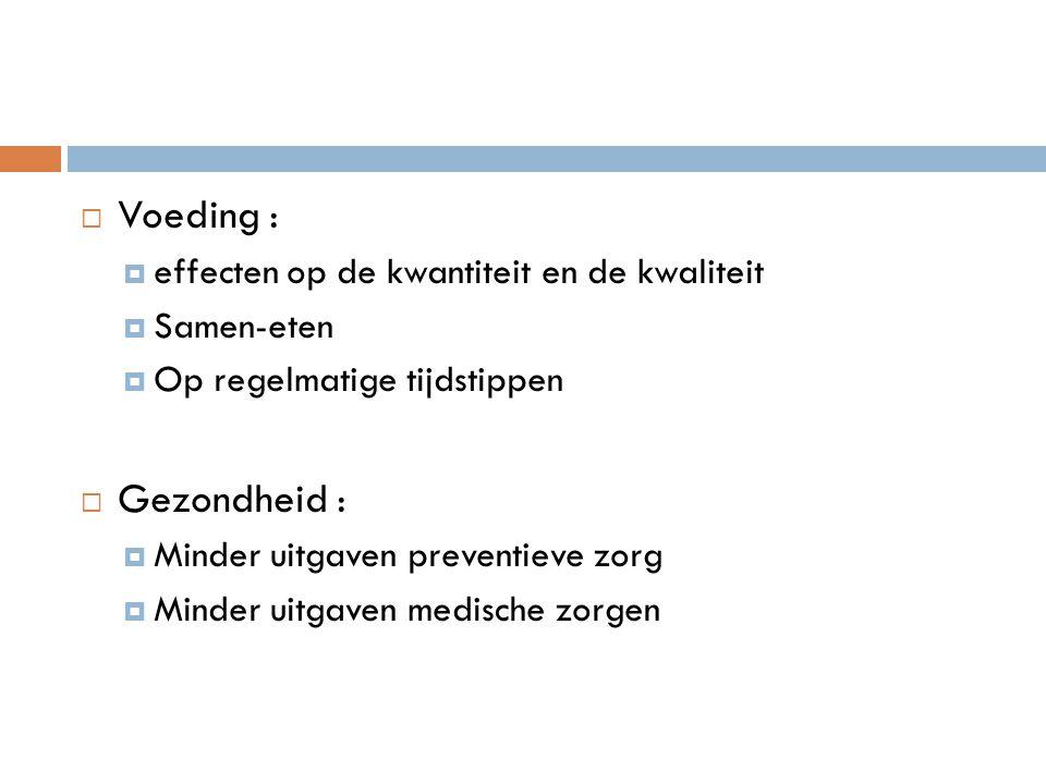  Voeding :  effecten op de kwantiteit en de kwaliteit  Samen-eten  Op regelmatige tijdstippen  Gezondheid :  Minder uitgaven preventieve zorg  Minder uitgaven medische zorgen