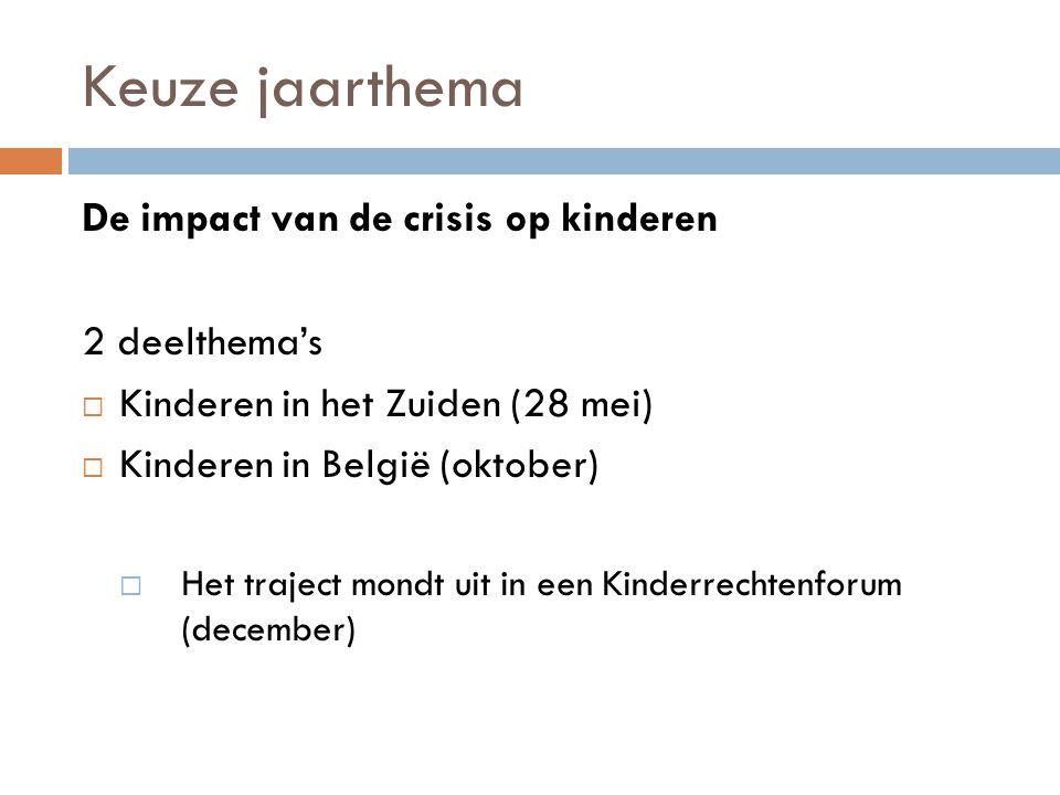 Keuze jaarthema De impact van de crisis op kinderen 2 deelthema's  Kinderen in het Zuiden (28 mei)  Kinderen in België (oktober)  Het traject mondt uit in een Kinderrechtenforum (december)