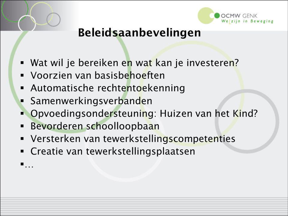 Beleidsaanbevelingen  Wat wil je bereiken en wat kan je investeren?  Voorzien van basisbehoeften  Automatische rechtentoekenning  Samenwerkingsver