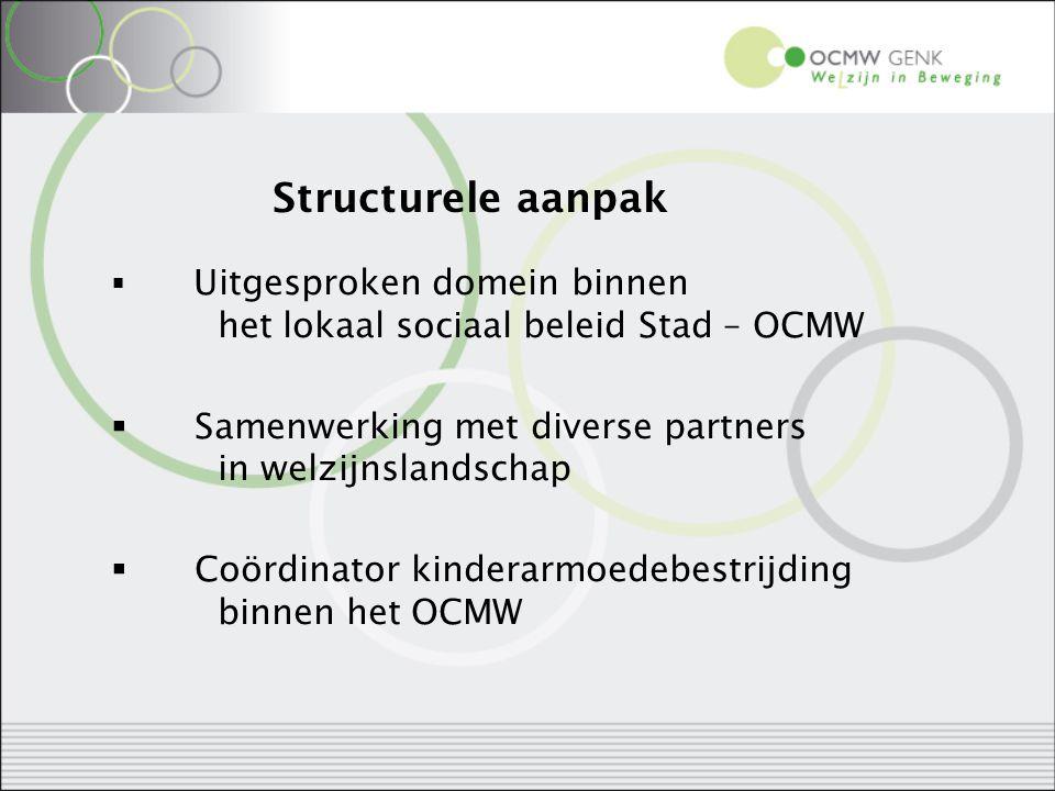 Structurele aanpak  Uitgesproken domein binnen het lokaal sociaal beleid Stad – OCMW  Samenwerking met diverse partners in welzijnslandschap  Coörd