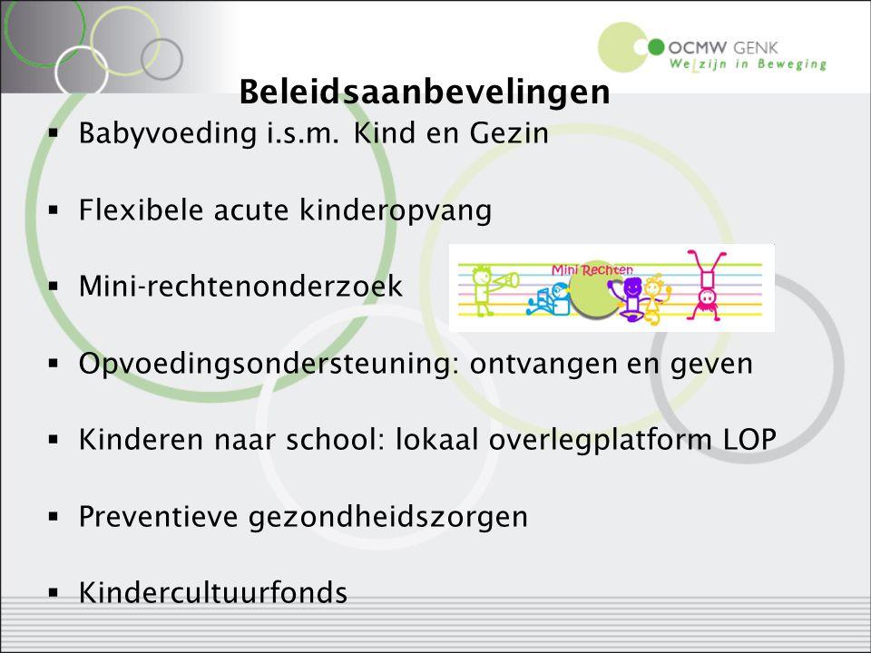 Beleidsaanbevelingen  Babyvoeding i.s.m. Kind en Gezin  Flexibele acute kinderopvang  Mini-rechtenonderzoek  Opvoedingsondersteuning: ontvangen en