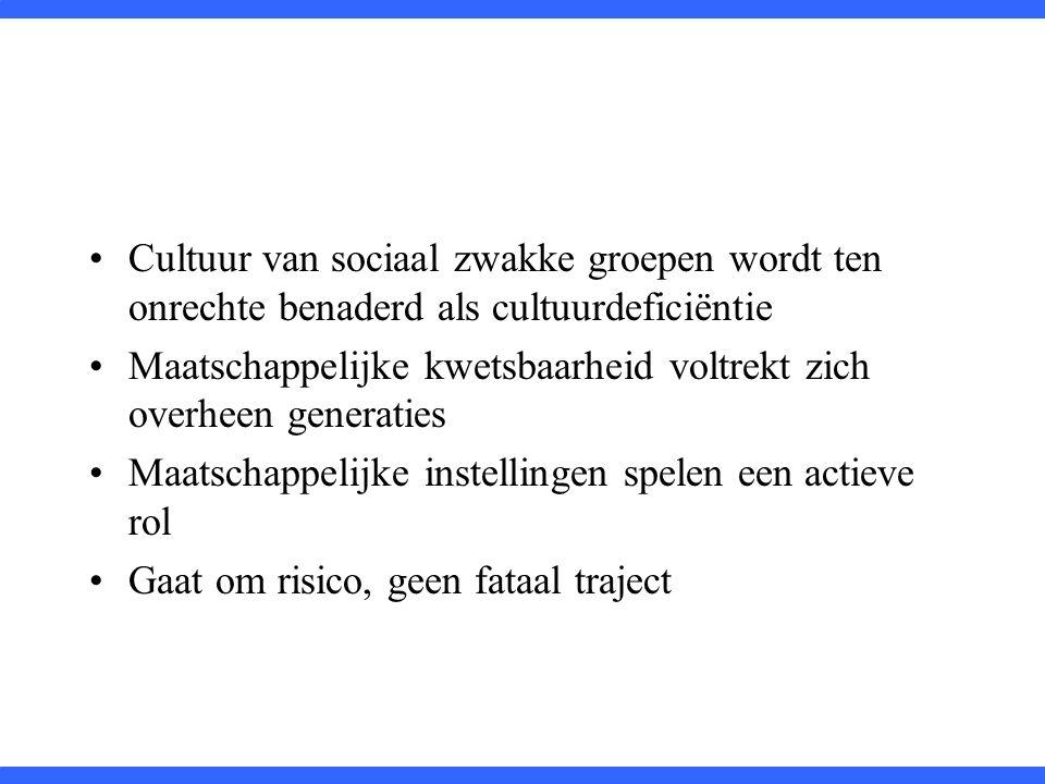 Cultuur van sociaal zwakke groepen wordt ten onrechte benaderd als cultuurdeficiëntie Maatschappelijke kwetsbaarheid voltrekt zich overheen generaties