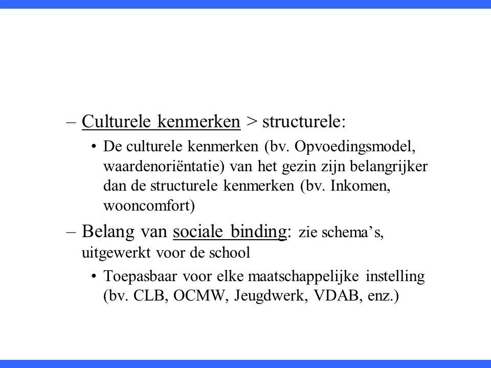 –Culturele kenmerken > structurele: De culturele kenmerken (bv. Opvoedingsmodel, waardenoriëntatie) van het gezin zijn belangrijker dan de structurele