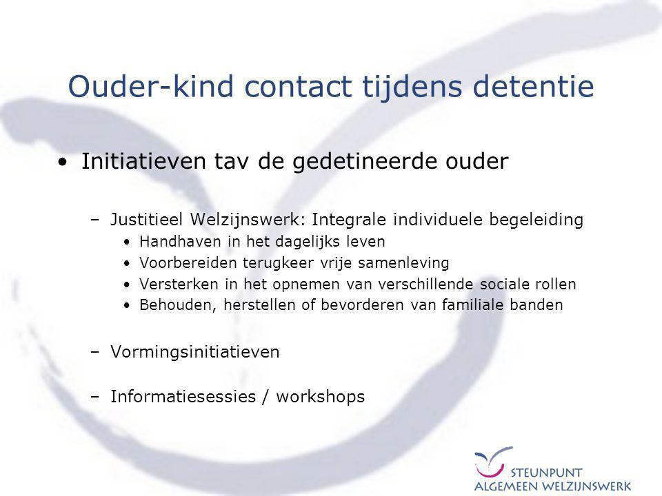 Ouder-kind contact tijdens detentie –Kindvriendelijke contactmogelijkheden in de gevangenis Speciaal kinderbezoek –Aangepaste infrastructuur –Omkadering –Ondersteuning voor-tijdens-na bezoek –Gezinsmoment.