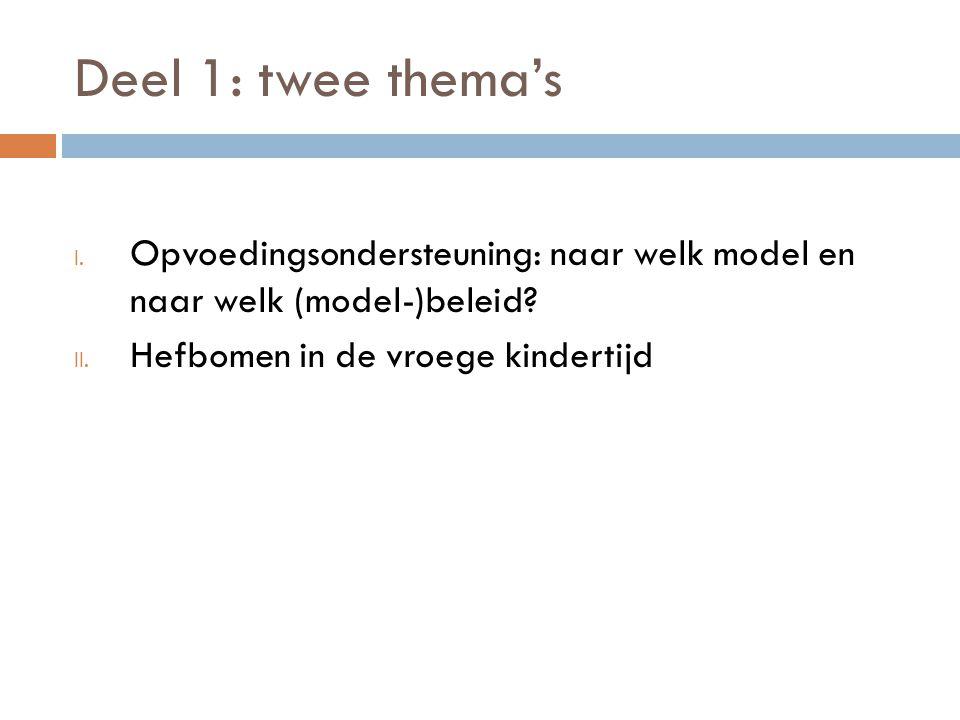 Deel 1: twee thema's I. Opvoedingsondersteuning: naar welk model en naar welk (model-)beleid.