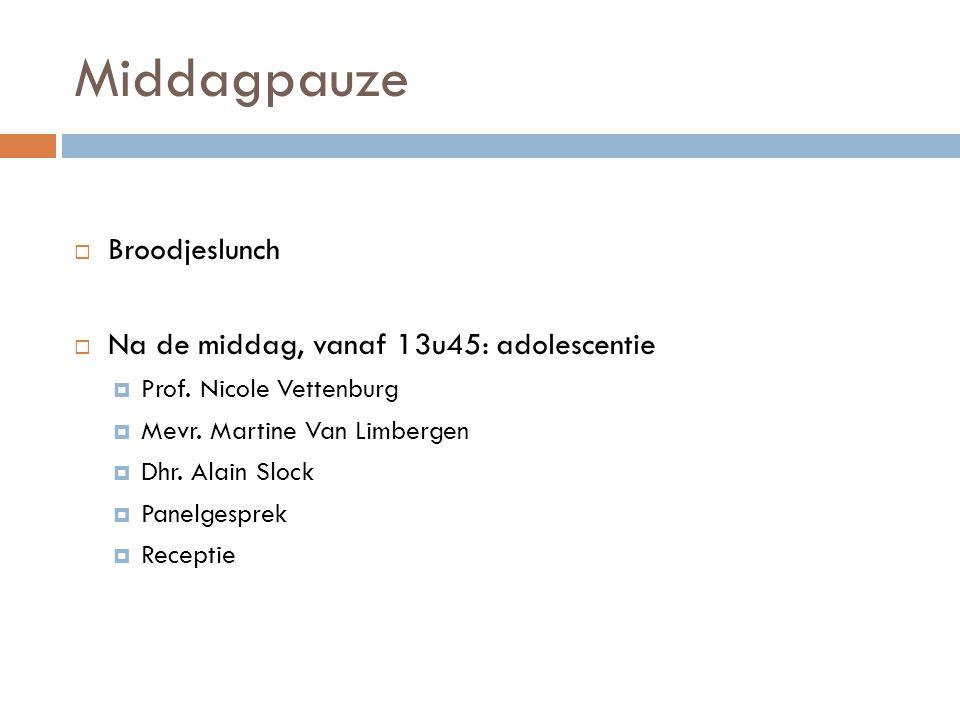Middagpauze  Broodjeslunch  Na de middag, vanaf 13u45: adolescentie  Prof.