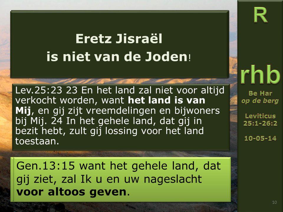 Lev.25:23 23 En het land zal niet voor altijd verkocht worden, want het land is van Mij, en gij zijt vreemdelingen en bijwoners bij Mij.