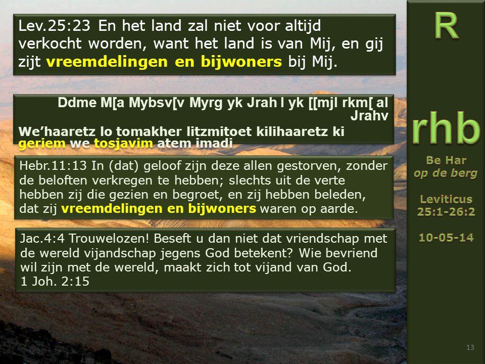 13 Hebr.11:13 In (dat) geloof zijn deze allen gestorven, zonder de beloften verkregen te hebben; slechts uit de verte hebben zij die gezien en begroet, en zij hebben beleden, dat zij vreemdelingen en bijwoners waren op aarde.