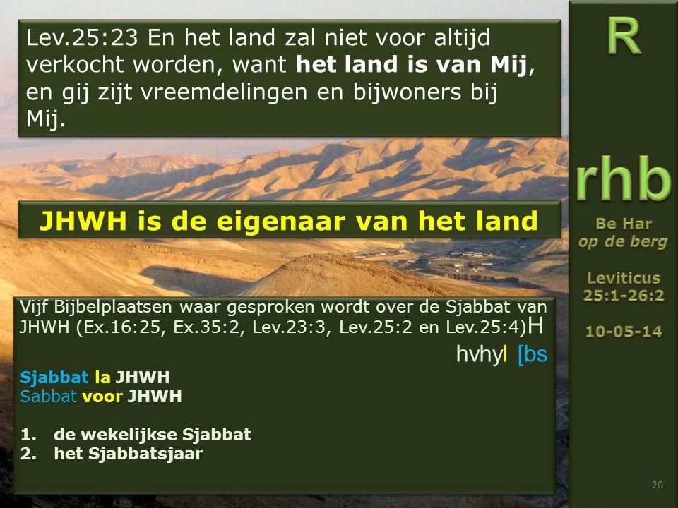 20 Lev.25:23 En het land zal niet voor altijd verkocht worden, want het land is van Mij, en gij zijt vreemdelingen en bijwoners bij Mij.