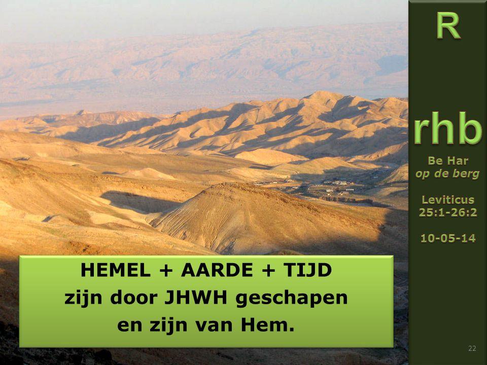 22 HEMEL + AARDE + TIJD zijn door JHWH geschapen en zijn van Hem.