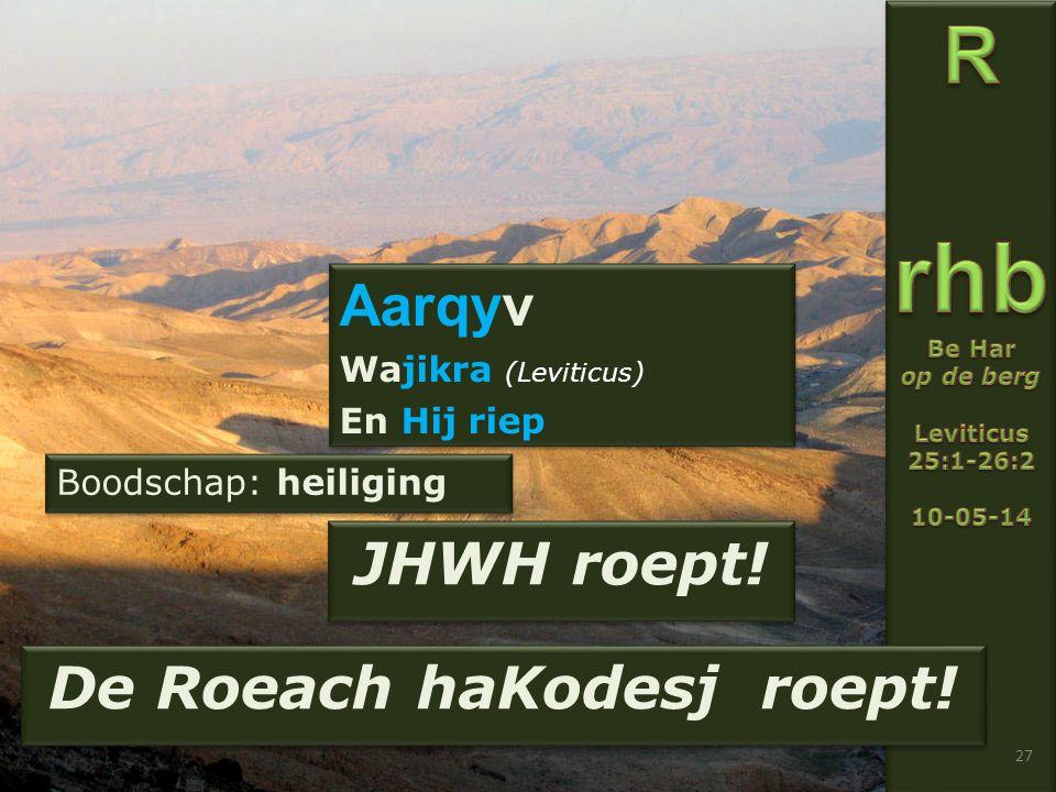 27 Aarqyv Wajikra (Leviticus) En Hij riep Aarqyv Wajikra (Leviticus) En Hij riep JHWH roept.