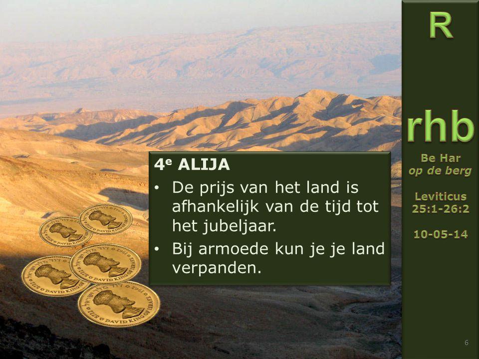 6 4 e ALIJA De prijs van het land is afhankelijk van de tijd tot het jubeljaar.
