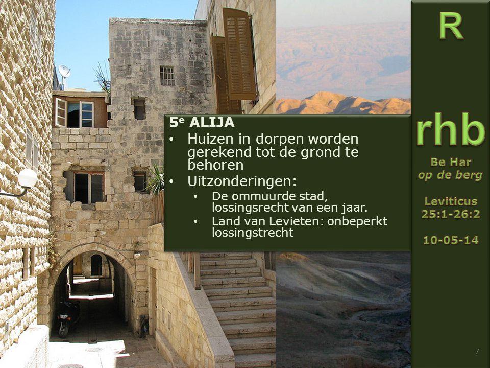 7 5 e ALIJA Huizen in dorpen worden gerekend tot de grond te behoren Uitzonderingen: De ommuurde stad, lossingsrecht van een jaar.