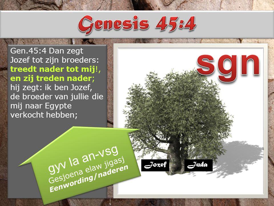 Gen.45:4 Dan zegt Jozef tot zijn broeders: treedt nader tot mij!, en zij treden nader; hij zegt: ik ben Jozef, de broeder van jullie die mij naar Egyp