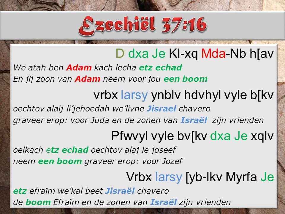 D dxa Je Kl-xq Mda-Nb h[av We atah ben Adam kach lecha etz echad En jij zoon van Adam neem voor jou een boom vrbx larsy ynblv hdvhyl vyle b[kv oechtov alaij li'jehoedah we'livne Jisrael chavero graveer erop: voor Juda en de zonen van Israël zijn vrienden Pfwvyl vyle bv[kv dxa Je xqlv oelkach etz echad oechtov alaj le joseef neem een boom graveer erop: voor Jozef Vrbx larsy [yb-lkv Myrfa Je etz efraïm we'kal beet Jisraël chavero de boom Efraïm en de zonen van Israël zijn vrienden D dxa Je Kl-xq Mda-Nb h[av We atah ben Adam kach lecha etz echad En jij zoon van Adam neem voor jou een boom vrbx larsy ynblv hdvhyl vyle b[kv oechtov alaij li'jehoedah we'livne Jisrael chavero graveer erop: voor Juda en de zonen van Israël zijn vrienden Pfwvyl vyle bv[kv dxa Je xqlv oelkach etz echad oechtov alaj le joseef neem een boom graveer erop: voor Jozef Vrbx larsy [yb-lkv Myrfa Je etz efraïm we'kal beet Jisraël chavero de boom Efraïm en de zonen van Israël zijn vrienden