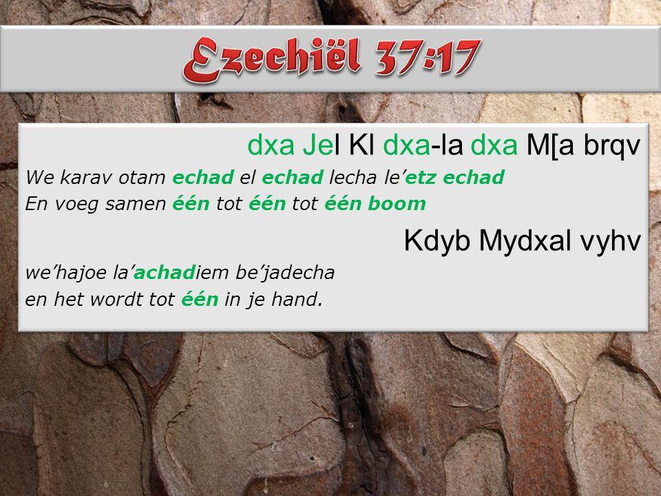 dxa Jel Kl dxa-la dxa M[a brqv We karav otam echad el echad lecha le'etz echad En voeg samen één tot één tot één boom Kdyb Mydxal vyhv we'hajoe la'achadiem be'jadecha en het wordt tot één in je hand.