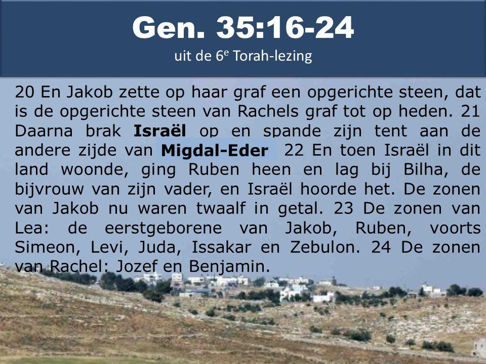 20 En Jakob zette op haar graf een opgerichte steen, dat is de opgerichte steen van Rachels graf tot op heden.