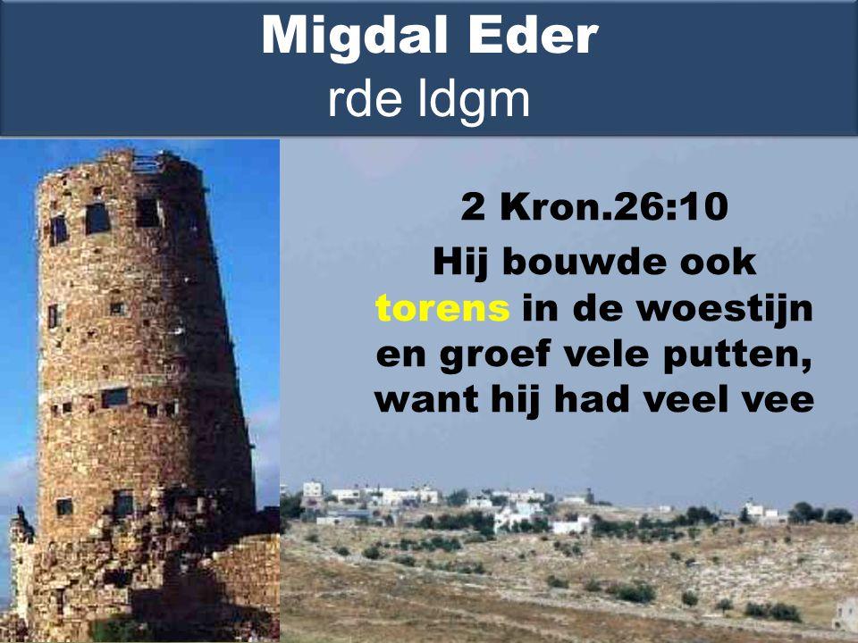 2 Kron.26:10 Hij bouwde ook torens in de woestijn en groef vele putten, want hij had veel vee Migdal Eder rde ldgm
