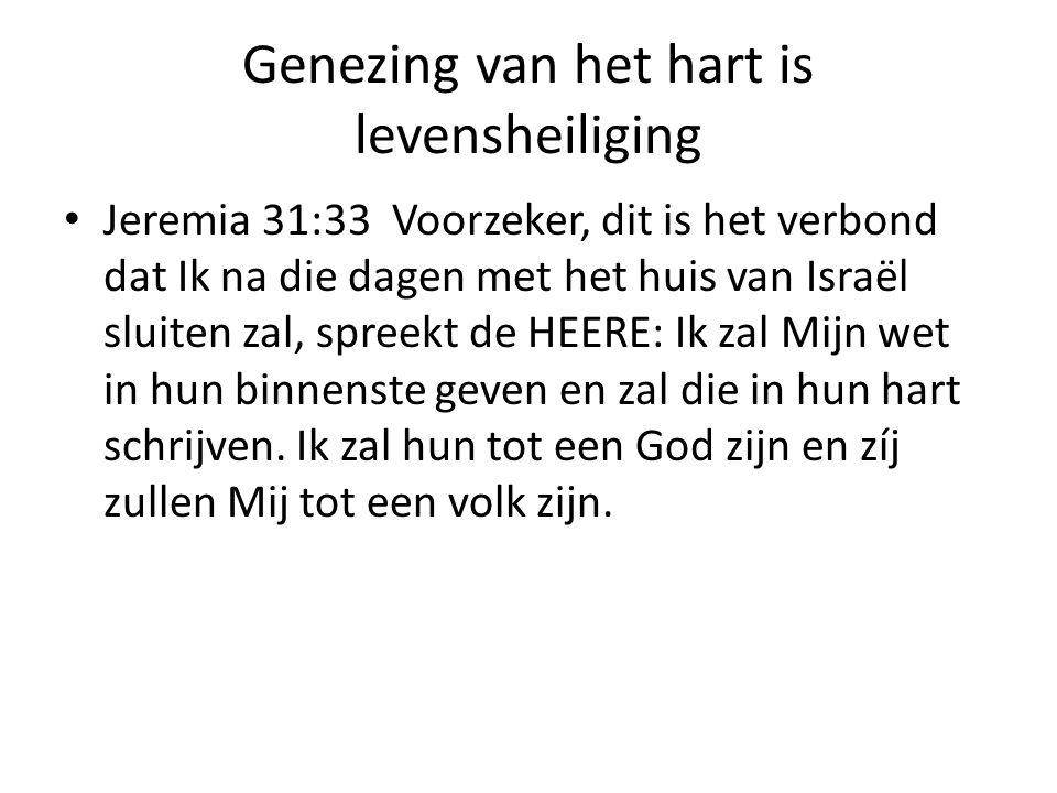 Genezing van het hart is levensheiliging Jeremia 31:33 Voorzeker, dit is het verbond dat Ik na die dagen met het huis van Israël sluiten zal, spreekt de HEERE: Ik zal Mijn wet in hun binnenste geven en zal die in hun hart schrijven.