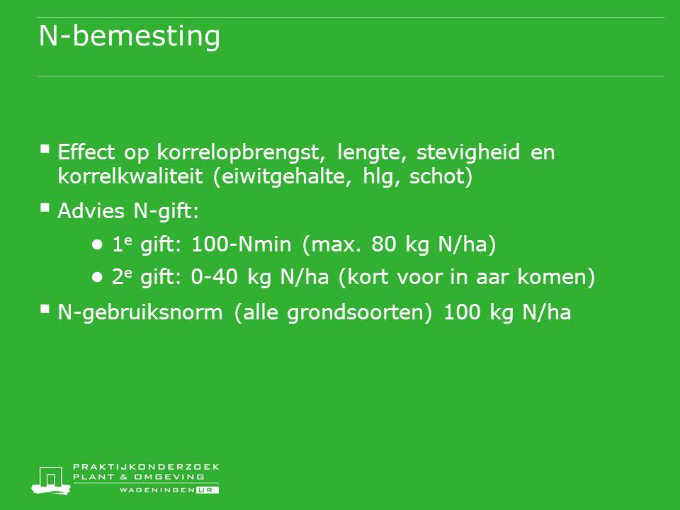 N-bemesting  Effect op korrelopbrengst, lengte, stevigheid en korrelkwaliteit (eiwitgehalte, hlg, schot)  Advies N-gift: ● 1 e gift: 100-Nmin (max.