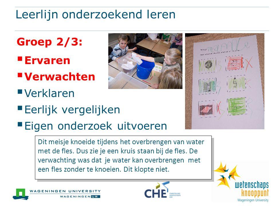 Leerlijn onderzoekend leren Groep 2/3:  Ervaren  Verwachten  Verklaren  Eerlijk vergelijken  Eigen onderzoek uitvoeren Dit meisje knoeide tijdens het overbrengen van water met de fles.